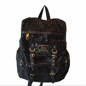 JUICY COUTURE Black Sequin Backpack Bag